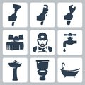 Vector plumbing icons set plunger and adjustable wrench spanner ball cock plumber faucet washbasin toilet bowl and bathtub Royalty Free Stock Photo