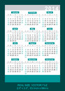 Vector pocket calendar start on sunday real size x mm x mm Stock Image