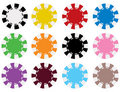 Vector Poker Chips in 12 Colors Stock Photo
