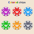 Vector Poker Chips in Colors Royalty Free Stock Photo