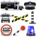 Vector police icons on white background Royalty Free Stock Image