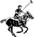Vector - Polo horse and player Royalty Free Stock Images