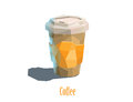 Vector polygonal illustration carton cup of cappuccino coffee Royalty Free Stock Photo
