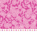 Vector pompom border trim on pink flowers seamless repeat pattern design background print. Perfect for clothing, fabric Royalty Free Stock Photo