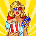 Vector pop art blond woman sitting in the auditorium and watching a 3D movie.