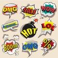 Vector pop art comic speech bubble set with abbreviations