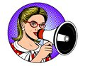 Vector pop art comic style illustration of a beautiful girl holding a loudspeaker over a blue dot background. Royalty Free Stock Photo