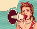 Vector pop art comic style illustration of a beautiful girl with a loudspeaker. Royalty Free Stock Photo