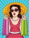Vector pop art comic style illustration of a beautiful young woman keep shopping bags in her hands. Royalty Free Stock Photo