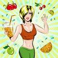 Vector pop art illustration of beautiful sporty girl