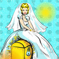 Vector pop art illustration of bride sitting on chest