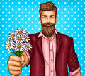 Vector pop art illustration of a brutal bearded man, macho with bouquet of chamomiles