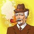 Vector pop art illustration of elderly man smoking pipe Royalty Free Stock Photo