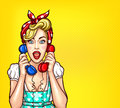 Vector pop art illustration of an excited surprised blond woman with a two telephone receiver in her hand.