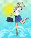 Vector pop art illustration of happy businesswoman