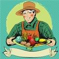 Vector pop art illustration of happy farmer with vegetables