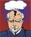Vector pop art illustration of man having splitting headache