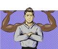 Vector pop art illustration of man with power gesture