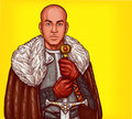 Vector pop art illustration of a medieval knight in steel armor with an iron sword Royalty Free Stock Photo