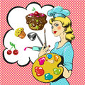 Vector pop art illustration of professional confectioner
