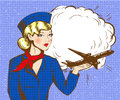 Vector pop art illustration of stewardess with airplane