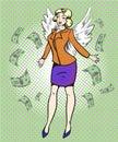 Vector pop art illustration of successful businesswoman