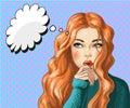Vector pop art illustration of thinking woman