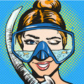 Vector pop art illustration of woman in scuba diving equipment Royalty Free Stock Photo