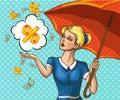 Vector pop art lady with umbrella under money rain