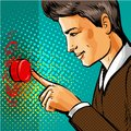 Vector pop art man pressing big red button Royalty Free Stock Photo