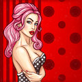 Vector pop art pin up illustration of a sexy girl in a seductive dress somewhere invites Royalty Free Stock Photo