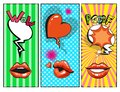 Vector pop art female lips, hearts, speech bubbles with fashion phrases Royalty Free Stock Photo
