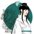 Vector portrait of asian woman Royalty Free Stock Image