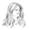 Vector portrait of attractive pensive woman, illustration of goo