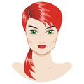 Vector portrait of a beautiful girl with a red hair Stock Image