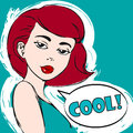 Vector portrait of beautiful woman in color. Easy editable illustration. Pop art girl. Cool.