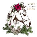 Vector portrait of boho Christmas horse. Decorated with winter floral wreath and fir branch, pinecone and star. Royalty Free Stock Photo