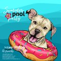 Vector portrait of pit bull terrier dog swimming in water. Donut float. Summer pool paty illustration. Sea, ocean, beach Royalty Free Stock Photo