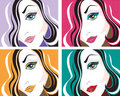 Vector portraits of the young woman Stock Images
