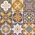 Vector Portuguese Azulejo Tiles Seamless Pattern Background.