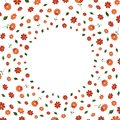 Vector positive frame with red orange flowers and green leaves isolated on white. Greeting card template, invitation