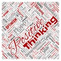Vector positive thinking, attitude square red word cloud