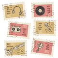 Vector postage stamps collection retro music equipment theme canceled decorative set for scrapbooking Stock Photos