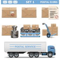 Vector postal icons set on white background Stock Photography