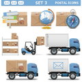 Vector postal icons set on white background Royalty Free Stock Image