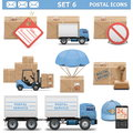 Vector postal icons set on white background Royalty Free Stock Photography