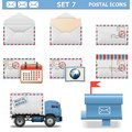 Vector postal icons set on white background Royalty Free Stock Photos