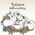 Vector poster for bohemian Halloween party. Goat skull with pumpkins and rose. Decorated with lettering.