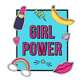 Vector poster `Girl Power` with cute fashion patch badges: lips, rainbow, star, diamond, lipstick