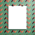 Vector poster template of a paper sheet sheetÑŽ white with clip picture frame Royalty Free Stock Images